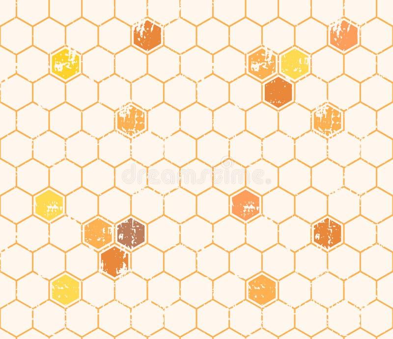 Άνευ ραφής σχέδιο μελιού με τα περιγραμμένα κύτταρα μελιού απεικόνιση αποθεμάτων