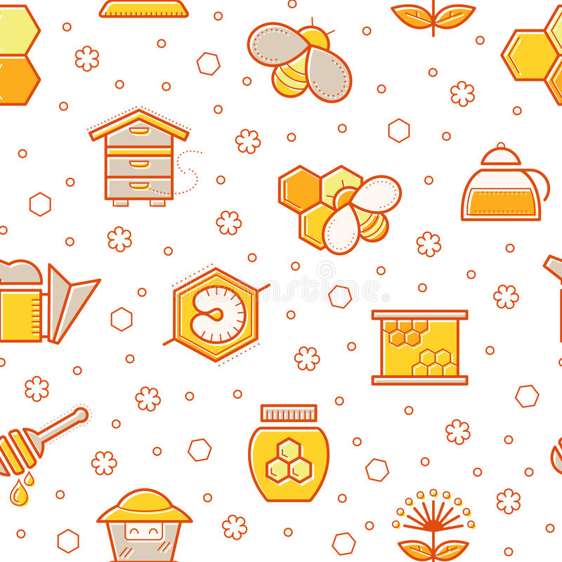 Άνευ ραφής σχέδιο μελιού με τις κτυπημένες μέλισσες μελιού, τα κύτταρα μελισσών, τις κυψέλες και τα σημάδια μελισσοκομίας ελεύθερη απεικόνιση δικαιώματος