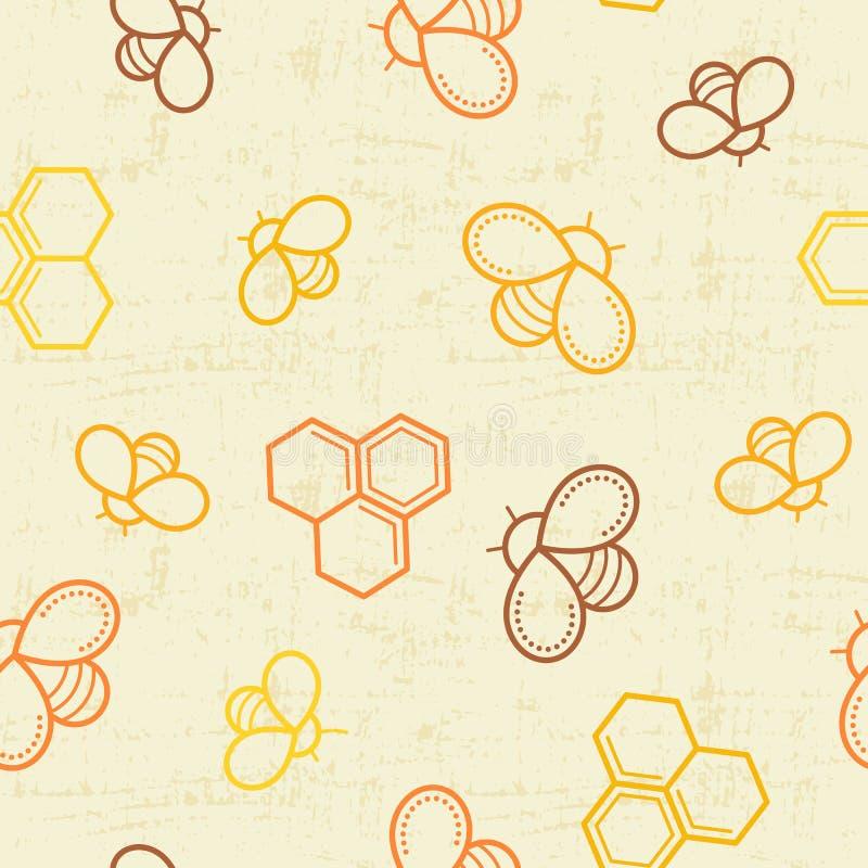 Άνευ ραφής σχέδιο μελιού με τις περιγραμμένα μέλισσες μελιού και τα κύτταρα μελιού απεικόνιση αποθεμάτων