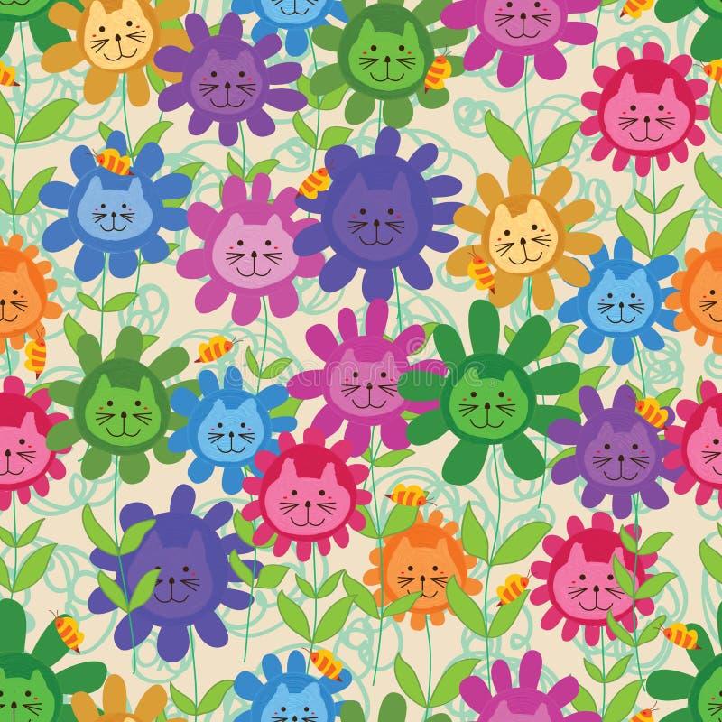 Άνευ ραφής σχέδιο μελισσών γατών λουλουδιών ελεύθερη απεικόνιση δικαιώματος