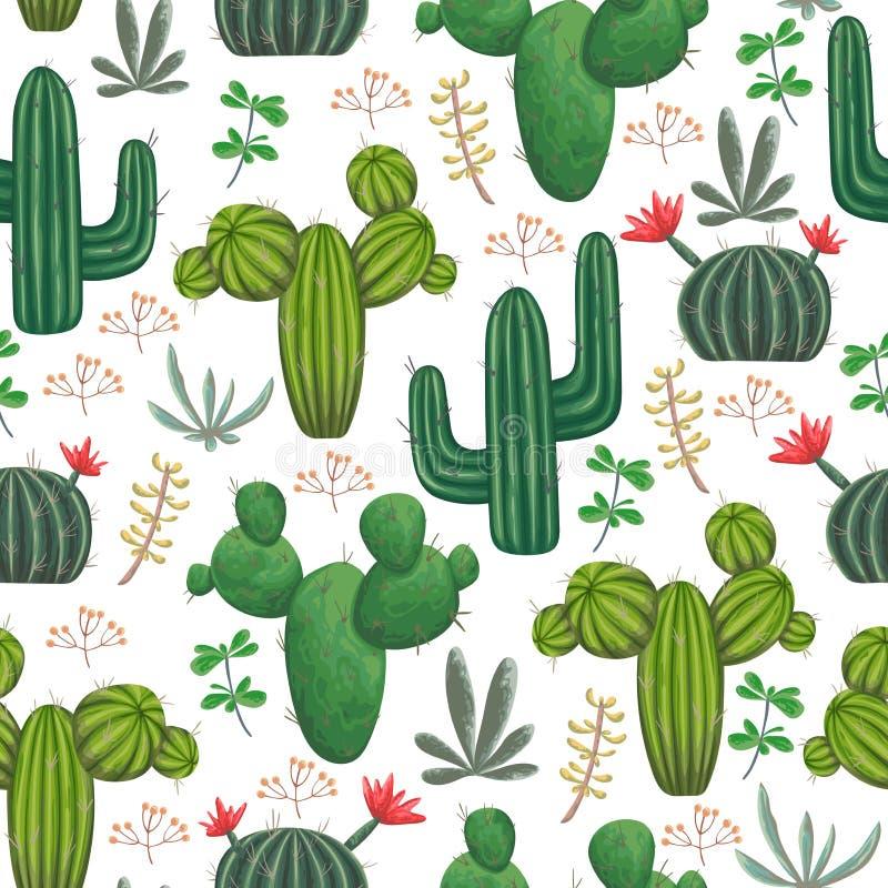 Άνευ ραφής σχέδιο με, κάκτοι, succulents και floral στοιχεία απεικόνιση αποθεμάτων