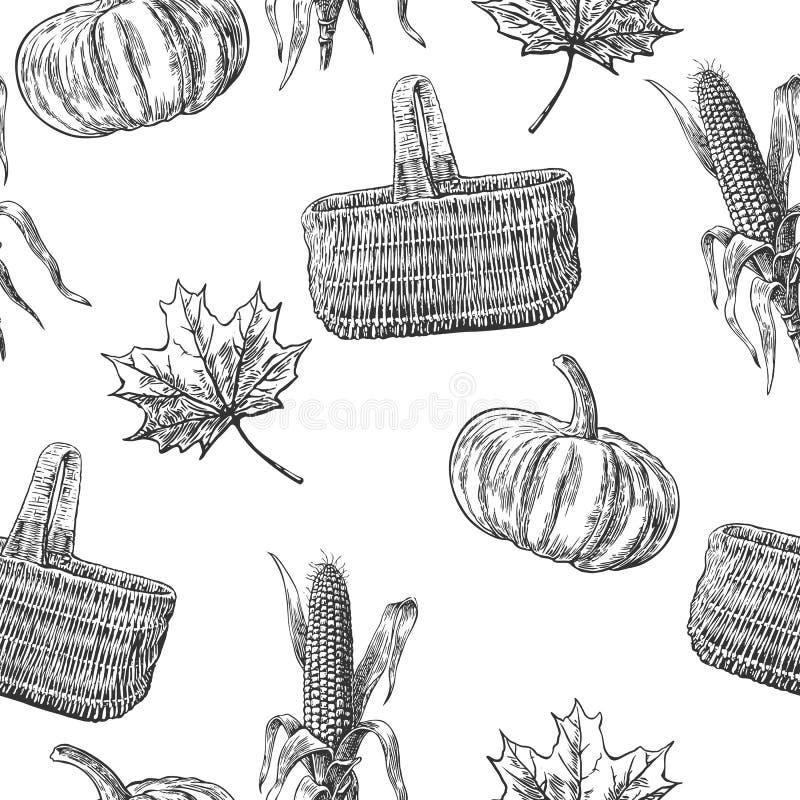 Άνευ ραφής σχέδιο με με τα φύλλα, κολοκύθα, καλάθι, σπάδικας καλαμποκιού ελεύθερη απεικόνιση δικαιώματος