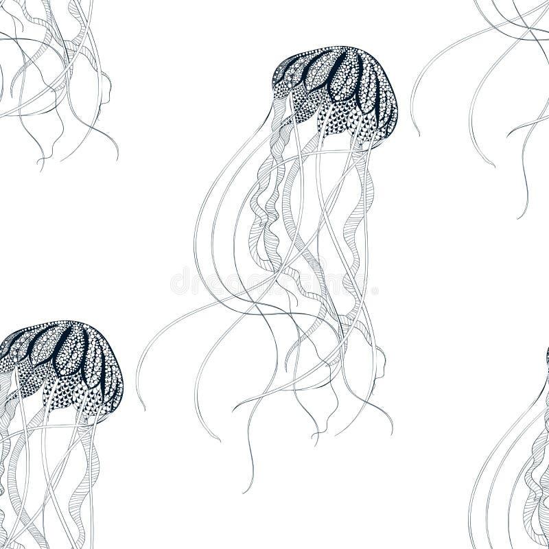 Άνευ ραφής σχέδιο μεδουσών Zentangle τυποποιημένο συρμένο χέρι διανυσματική απεικόνιση