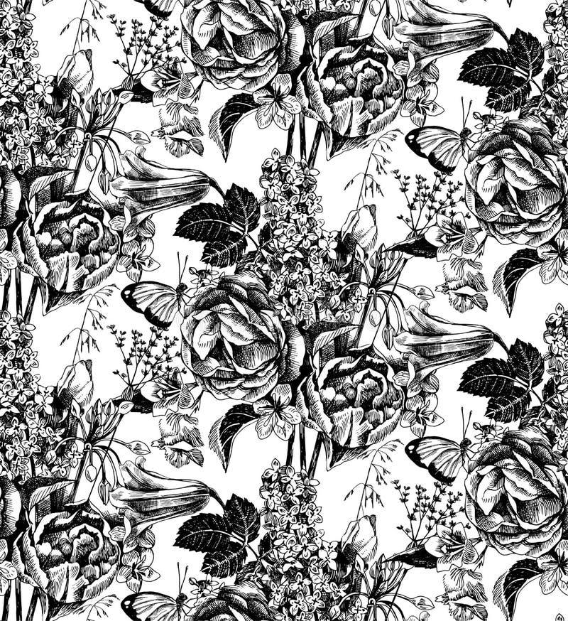Άνευ ραφής σχέδιο με συρμένα τα χέρι λουλούδια κήπων ελεύθερη απεικόνιση δικαιώματος