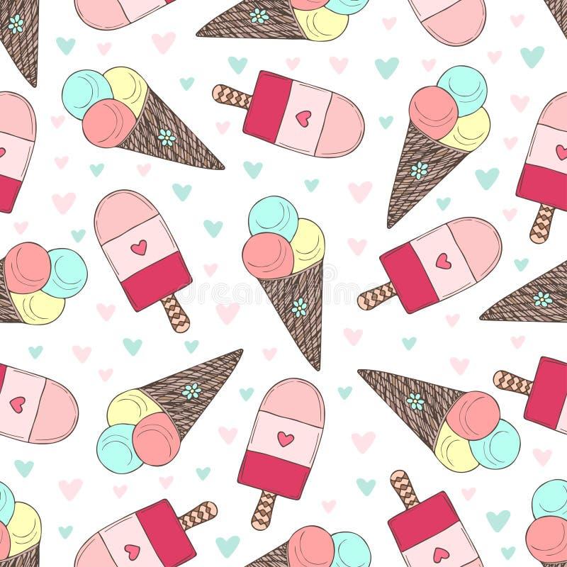 Άνευ ραφής σχέδιο με συρμένα τα χέρι παγωτά Χαριτωμένες καρδιές παγωτού Doodle διανυσματικές απεικόνιση αποθεμάτων