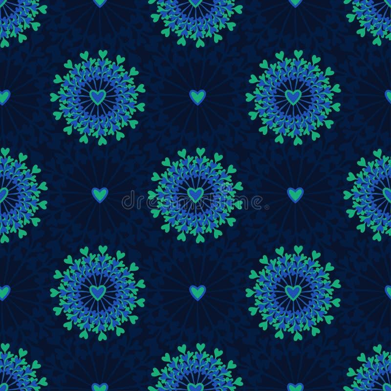 Άνευ ραφής σχέδιο με συρμένους το χέρι κύκλο και τις καρδιές Περίκομψο floral ατελείωτο υπόβαθρο Hipster Μπορέστε να χρησιμοποιηθ διανυσματική απεικόνιση