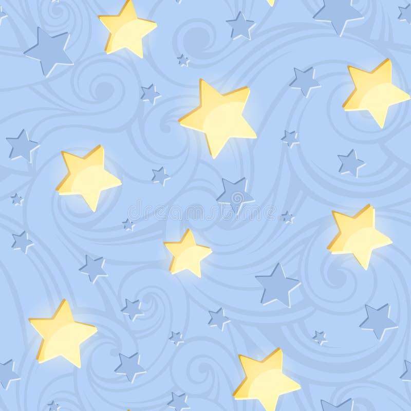 Άνευ ραφής σχέδιο με τα λάμποντας αστέρια στο μπλε επίσης corel σύρετε το διάνυσμα απεικόνισης διανυσματική απεικόνιση