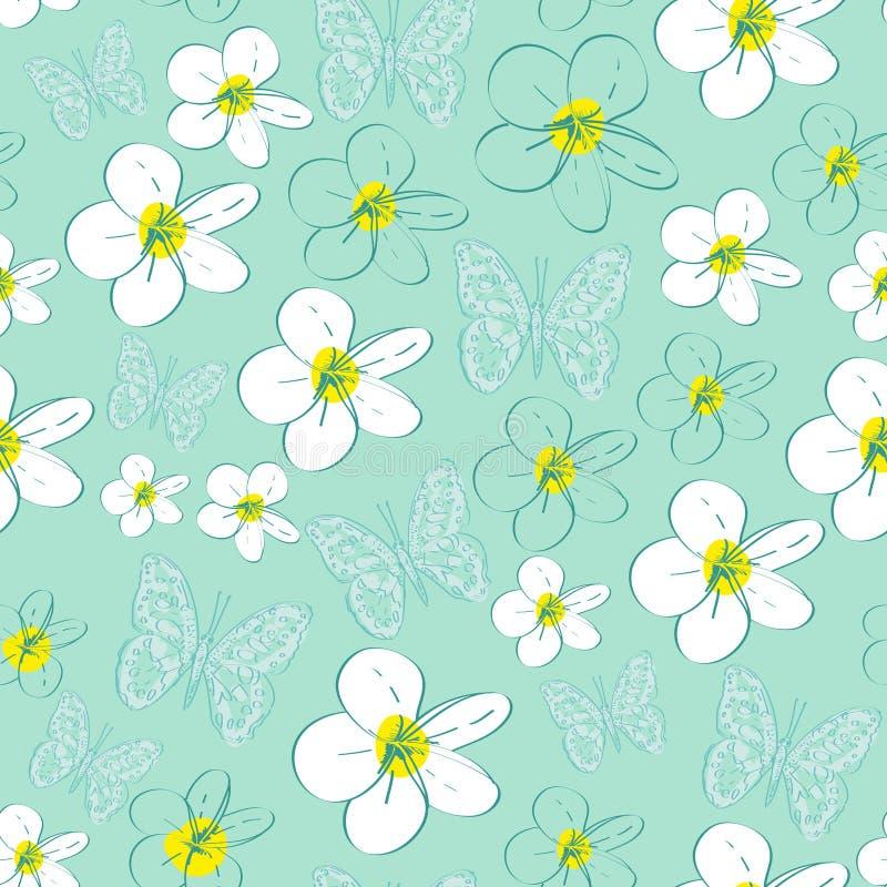 Άνευ ραφής σχέδιο με τα άσπρα λουλούδια σε ένα μπλε διανυσματική απεικόνιση