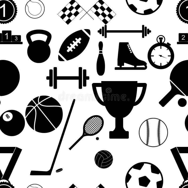 Άνευ ραφής σχέδιο με τα αθλητικά μαύρα εικονίδια επίσης corel σύρετε το διάνυσμα απεικόνισης απεικόνιση αποθεμάτων
