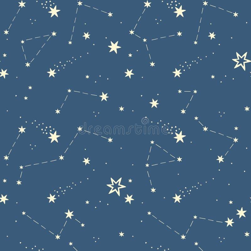 Άνευ ραφής σχέδιο με τα αστέρια, αστερισμοί διανυσματική απεικόνιση
