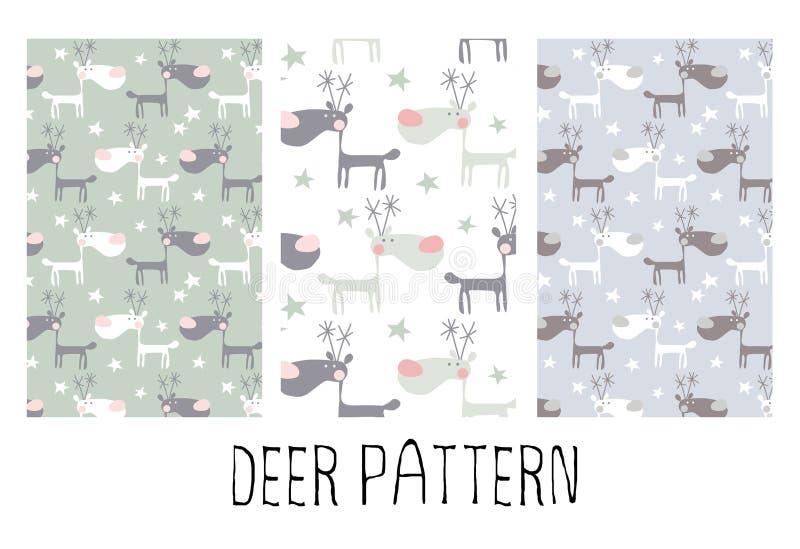 Άνευ ραφής σχέδιο με τα αστεία deers απεικόνιση αποθεμάτων