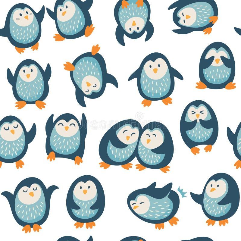 Άνευ ραφής σχέδιο με τα αστεία penguins απεικόνιση αποθεμάτων