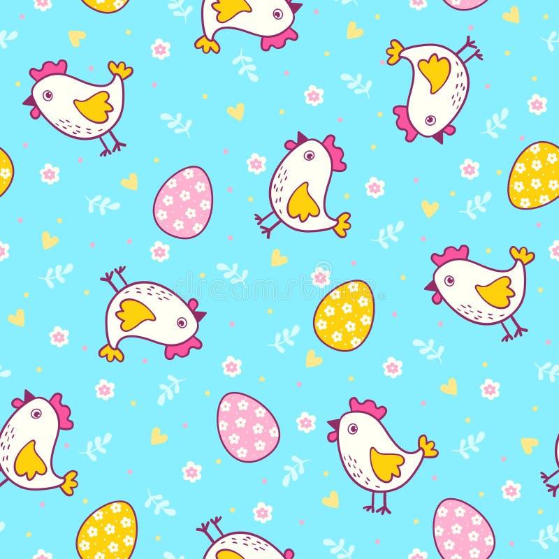 Άνευ ραφής σχέδιο με τα αυγά και το κοτόπουλο Πάσχας διανυσματική απεικόνιση