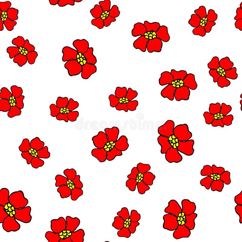 Άνευ ραφής σχέδιο με τα αφηρημένα κόκκινα λουλούδια διανυσματική απεικόνιση