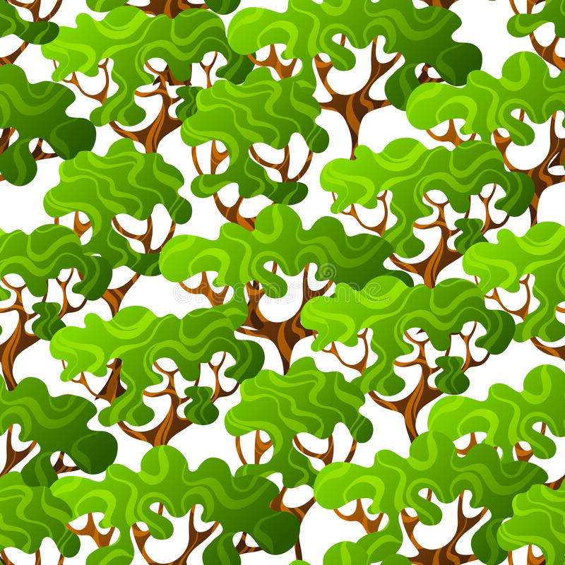 Άνευ ραφής σχέδιο με τα αφηρημένα τυποποιημένα δέντρα φυσική απεικόνιση ελεύθερη απεικόνιση δικαιώματος