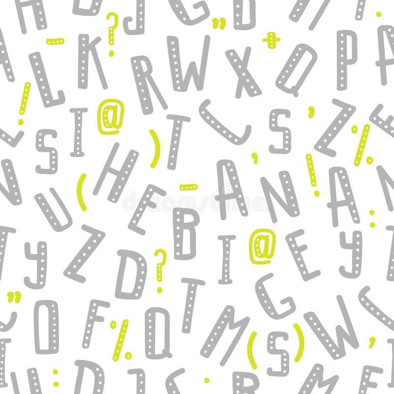Άνευ ραφής σχέδιο με τα γκρίζα γράμματα της αλφαβήτου και τα πράσινα σημεία στίξης στην τυχαία διαταγή σχετικά με ένα άσπρο υπόβα απεικόνιση αποθεμάτων