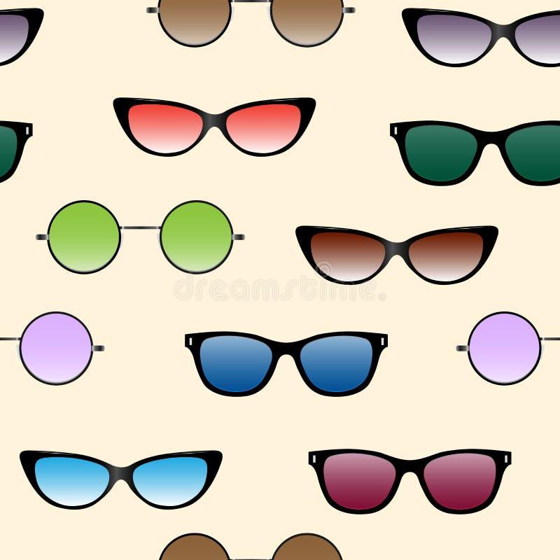 Άνευ ραφής σχέδιο με τα γυαλιά ηλίου απεικόνιση αποθεμάτων