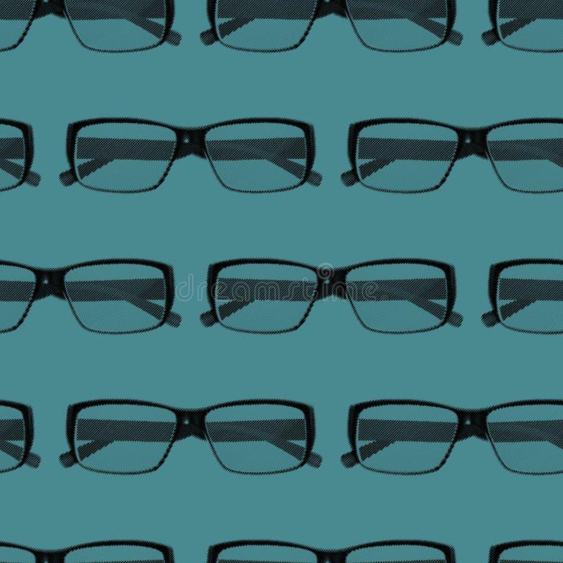 Άνευ ραφής σχέδιο με τα γυαλιά ματιών χάραξης background computer fashion imitation screen απεικόνιση αποθεμάτων