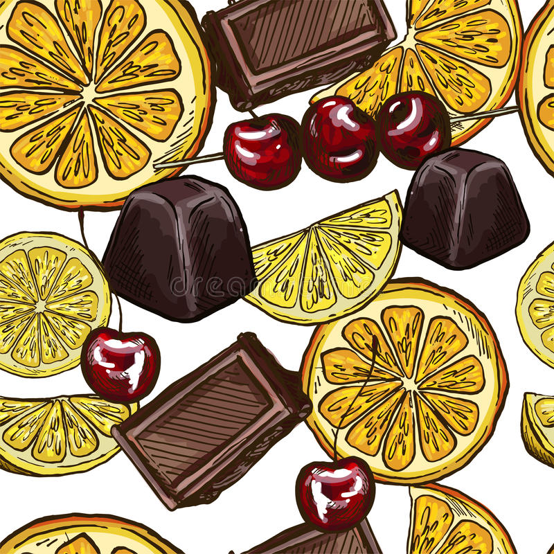 Άνευ ραφής σχέδιο με τα γλυκά σοκολάτας και τις πορτοκαλιές φέτες απεικόνιση αποθεμάτων
