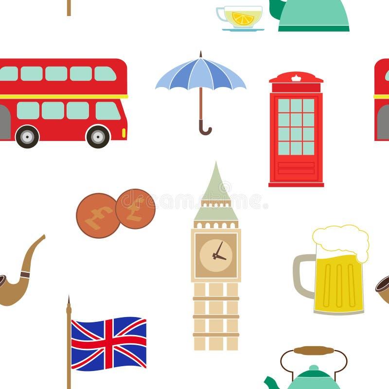 Άνευ ραφής σχέδιο με τα εικονίδια της Αγγλίας διανυσματική απεικόνιση