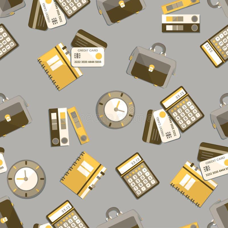 Άνευ ραφής σχέδιο με τα εικονίδια χρηματοδότησης, λογιστικής και ελέγχου διανυσματική απεικόνιση