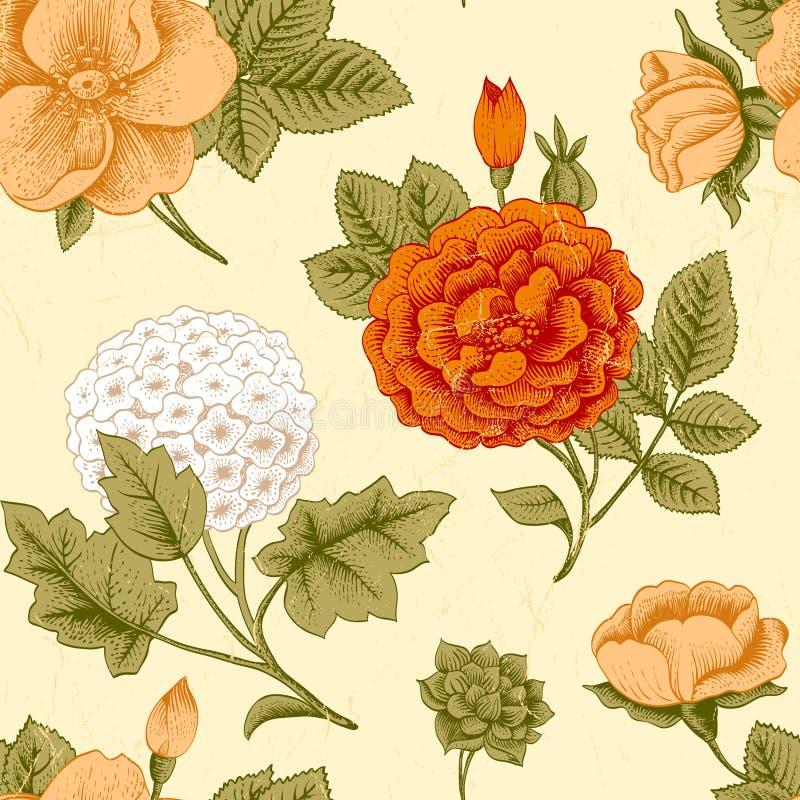 Άνευ ραφής σχέδιο με τα εκλεκτής ποιότητας λουλούδια. απεικόνιση αποθεμάτων