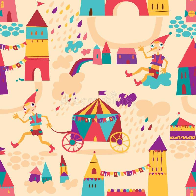 Άνευ ραφής σχέδιο με τα ζωηρόχρωμα σπίτια για το υπόβαθρο των παιδιών. διανυσματική απεικόνιση