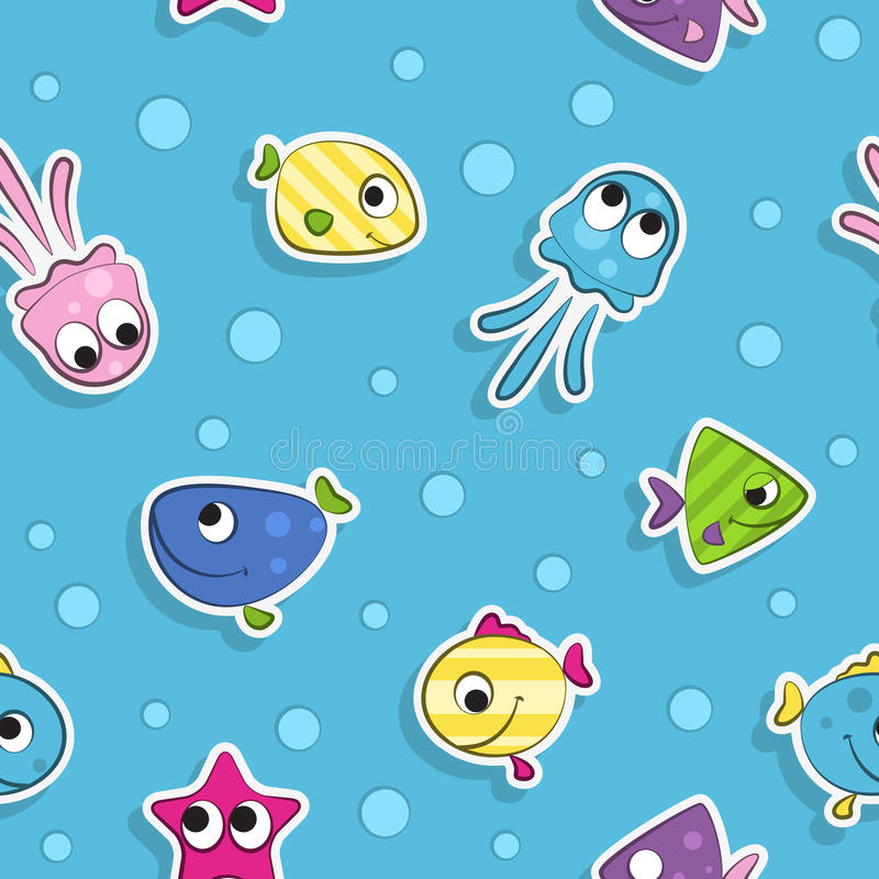 Άνευ ραφής σχέδιο με τα ζωηρόχρωμα ψάρια κινούμενων σχεδίων απεικόνιση αποθεμάτων