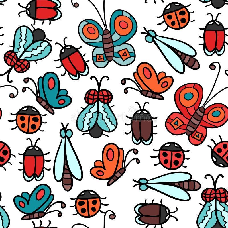 Άνευ ραφής σχέδιο με τα έντομα διανυσματική απεικόνιση