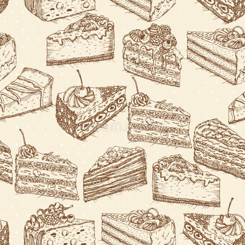 Άνευ ραφής σχέδιο με τα κέικ στο εκλεκτής ποιότητας ύφος doodle ελεύθερη απεικόνιση δικαιώματος