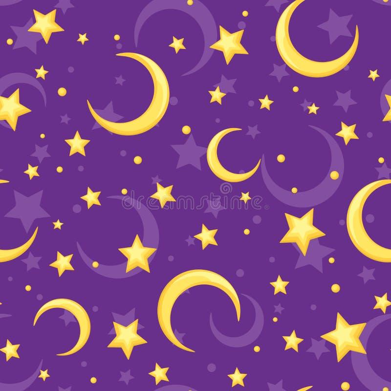 Άνευ ραφής σχέδιο με τα κίτρινες αστέρια και τις ημισελήνους στην πορφύρα επίσης corel σύρετε το διάνυσμα απεικόνισης απεικόνιση αποθεμάτων