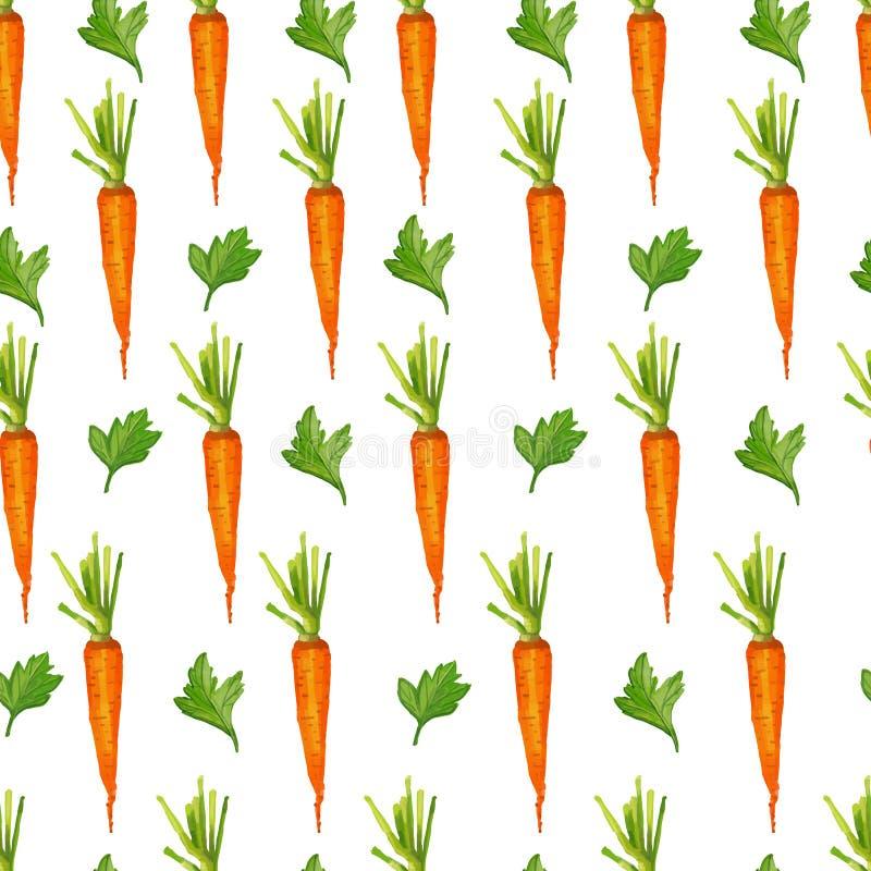 Άνευ ραφής σχέδιο με τα καρότα και τα πράσινα διανυσματική απεικόνιση