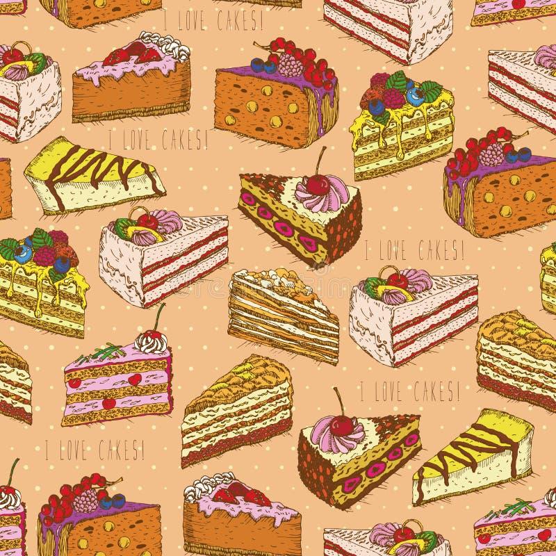Άνευ ραφής σχέδιο με τα κομμάτια των κέικ, πίτες στο εκλεκτής ποιότητας ύφος doodle απεικόνιση αποθεμάτων