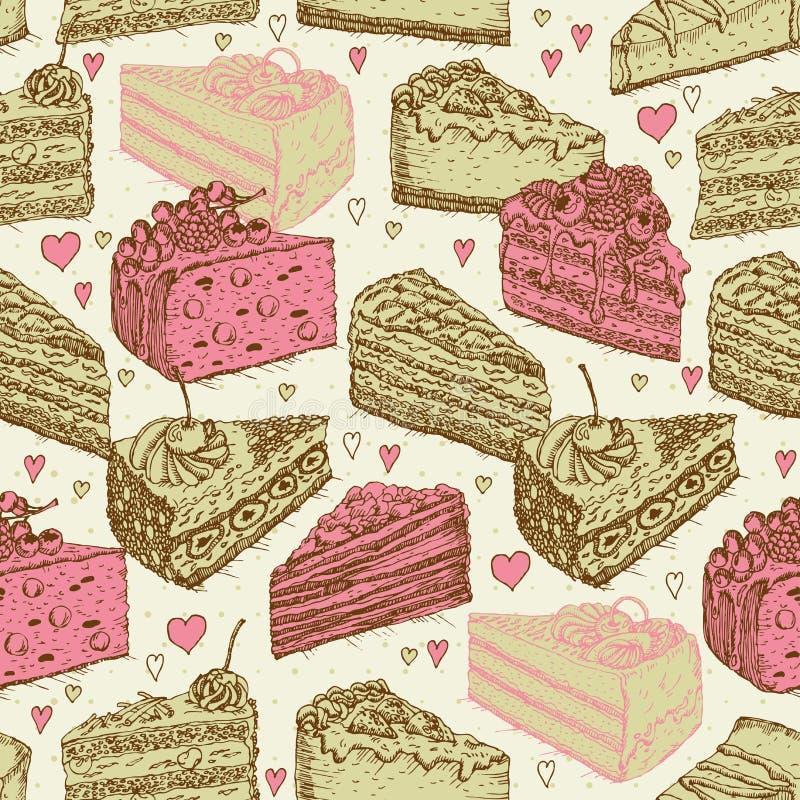 Άνευ ραφής σχέδιο με τα κομμάτια των κέικ, πίτες στο εκλεκτής ποιότητας ύφος doodle ελεύθερη απεικόνιση δικαιώματος