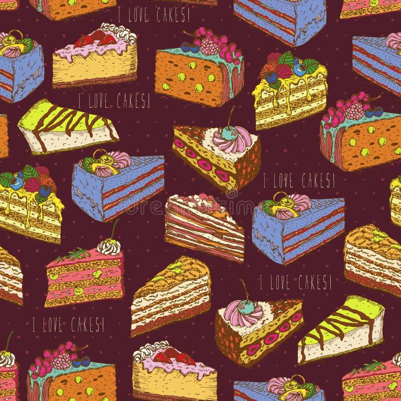 Άνευ ραφής σχέδιο με τα κομμάτια των κέικ, πίτες στο εκλεκτής ποιότητας ύφος doodle διανυσματική απεικόνιση