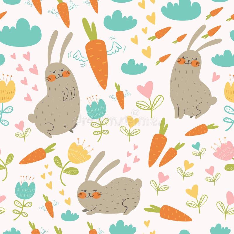 Άνευ ραφής σχέδιο με τα κουνέλια και τα καρότα απεικόνιση αποθεμάτων