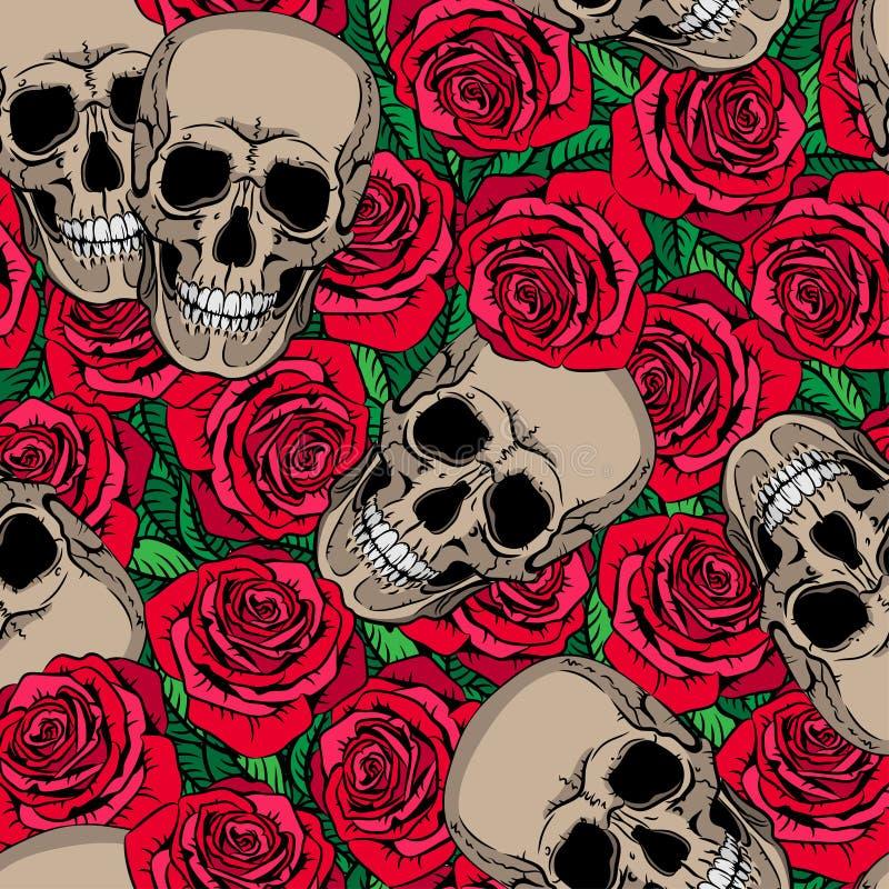 Άνευ ραφής σχέδιο με τα κρανία και τα κόκκινα τριαντάφυλλα απεικόνιση αποθεμάτων