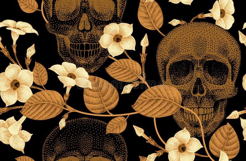 Άνευ ραφής σχέδιο με τα κρανία και τα λουλούδια διανυσματική απεικόνιση