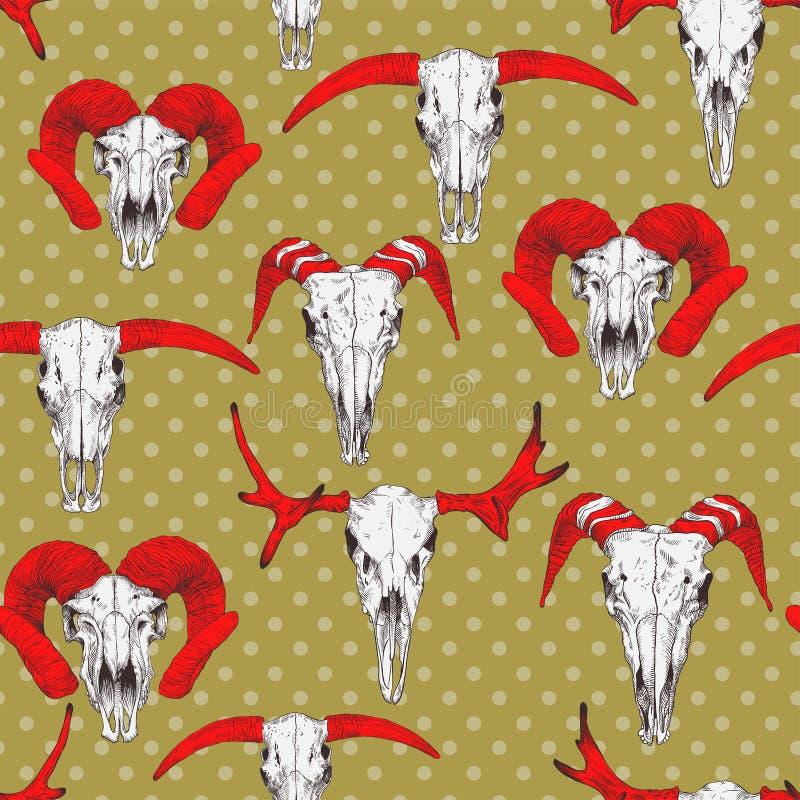 Άνευ ραφής σχέδιο με τα κρανία των ελαφιών, του ταύρου, της αίγας και των προβάτων απεικόνιση αποθεμάτων