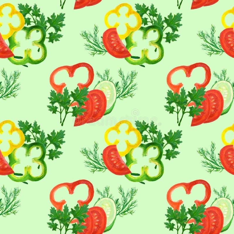 Άνευ ραφής σχέδιο με τα κόκκινα, κίτρινα, πράσινα δαχτυλίδια πιπεριών watercolor, τις ντομάτες, τα αγγούρια και τα πράσινα ελεύθερη απεικόνιση δικαιώματος