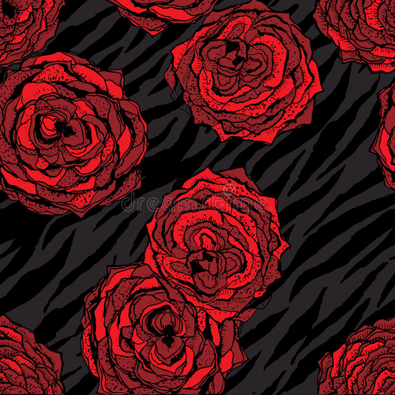 Άνευ ραφής σχέδιο με τα κόκκινα λουλούδια στο ζώο απεικόνιση αποθεμάτων