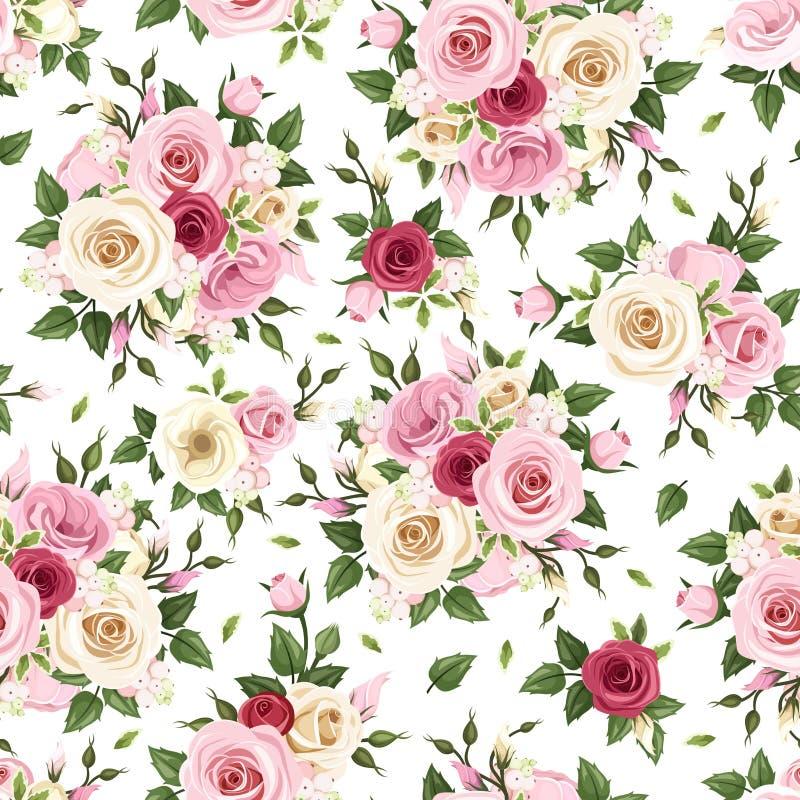 Άνευ ραφής σχέδιο με τα κόκκινα, ρόδινα και άσπρα τριαντάφυλλα επίσης corel σύρετε το διάνυσμα απεικόνισης διανυσματική απεικόνιση