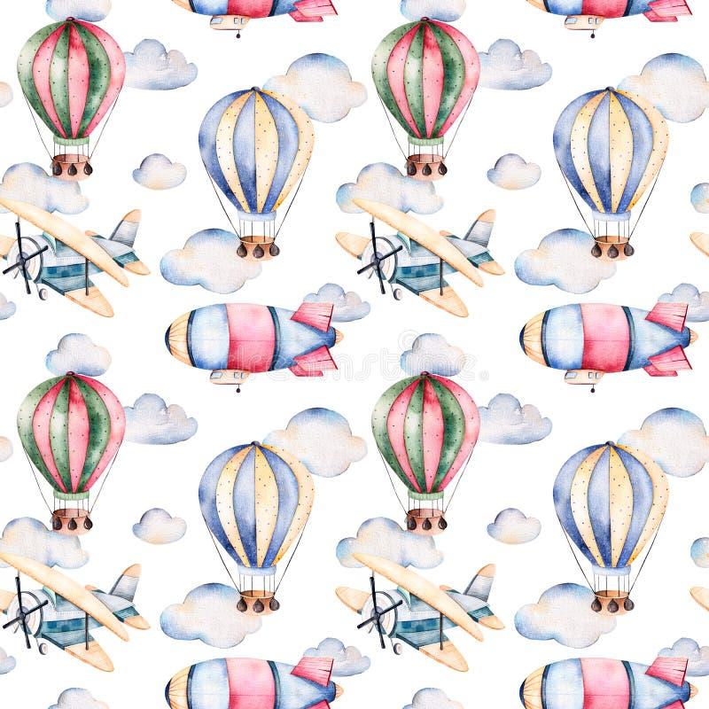 Άνευ ραφής σχέδιο με τα μπαλόνια αέρα, το αεροσκάφος, τα σύννεφα και το αεροπλάνο στα χρώματα κρητιδογραφιών διανυσματική απεικόνιση