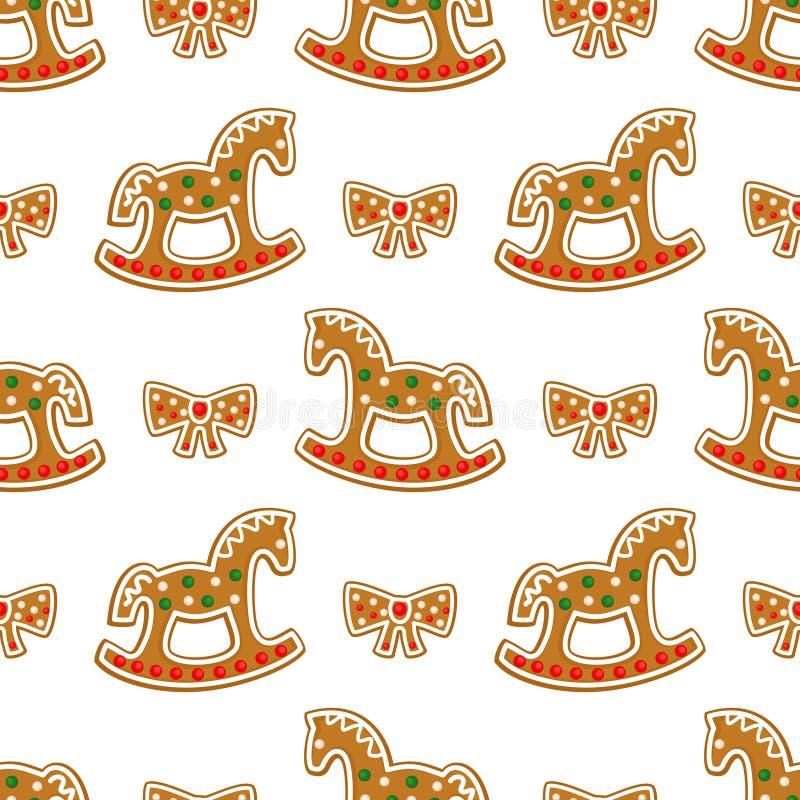 Άνευ ραφής σχέδιο με τα μπισκότα μελοψωμάτων Χριστουγέννων - άλογο και τόξο λικνίσματος ελεύθερη απεικόνιση δικαιώματος