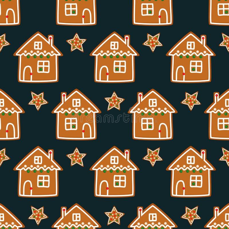 Άνευ ραφής σχέδιο με τα μπισκότα μελοψωμάτων Χριστουγέννων - αστέρι Χριστουγέννων και χαριτωμένο σπίτι ελεύθερη απεικόνιση δικαιώματος