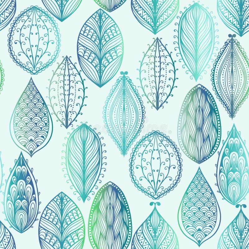 Άνευ ραφής σχέδιο με τα μπλε φύλλα απεικόνιση αποθεμάτων