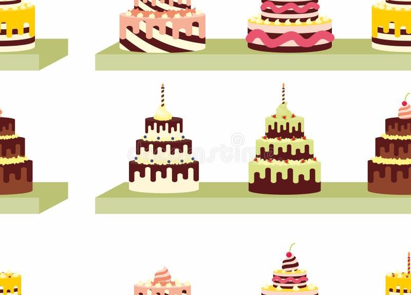 Άνευ ραφής σχέδιο με τα νόστιμα κέικ με την κρέμα για τα γενέθλια, τους γάμους, τις επετείους και άλλους εορτασμούς ελεύθερη απεικόνιση δικαιώματος