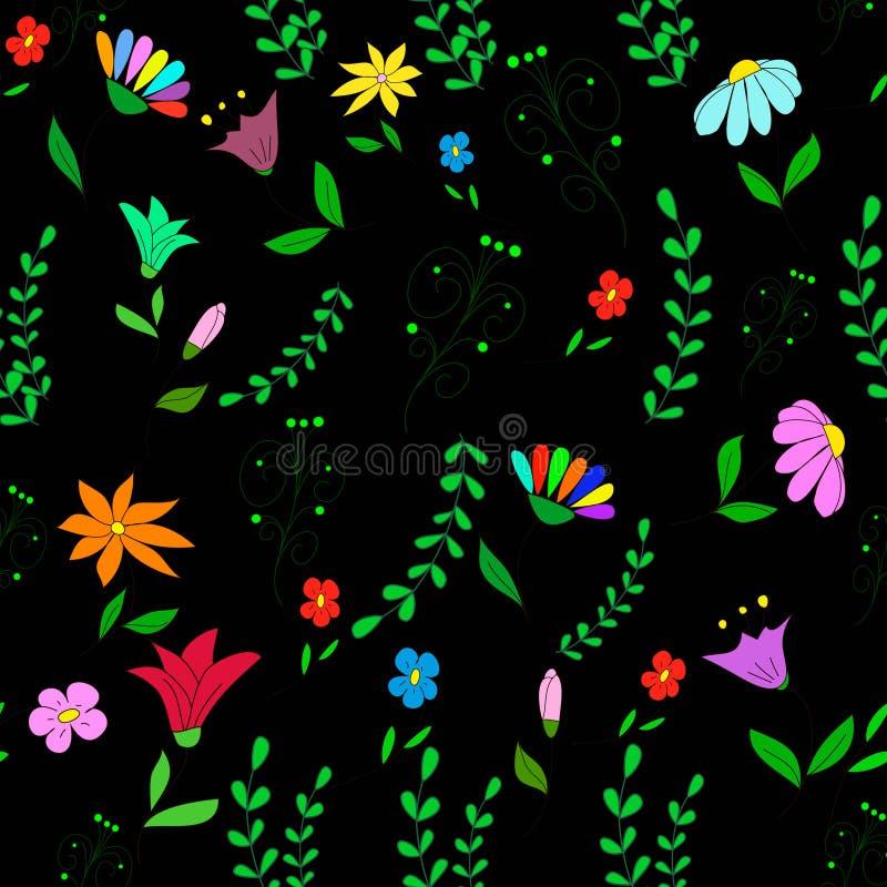 Άνευ ραφής σχέδιο με τα λουλούδια, τα κλαδάκια και τις μπούκλες διανυσματική απεικόνιση