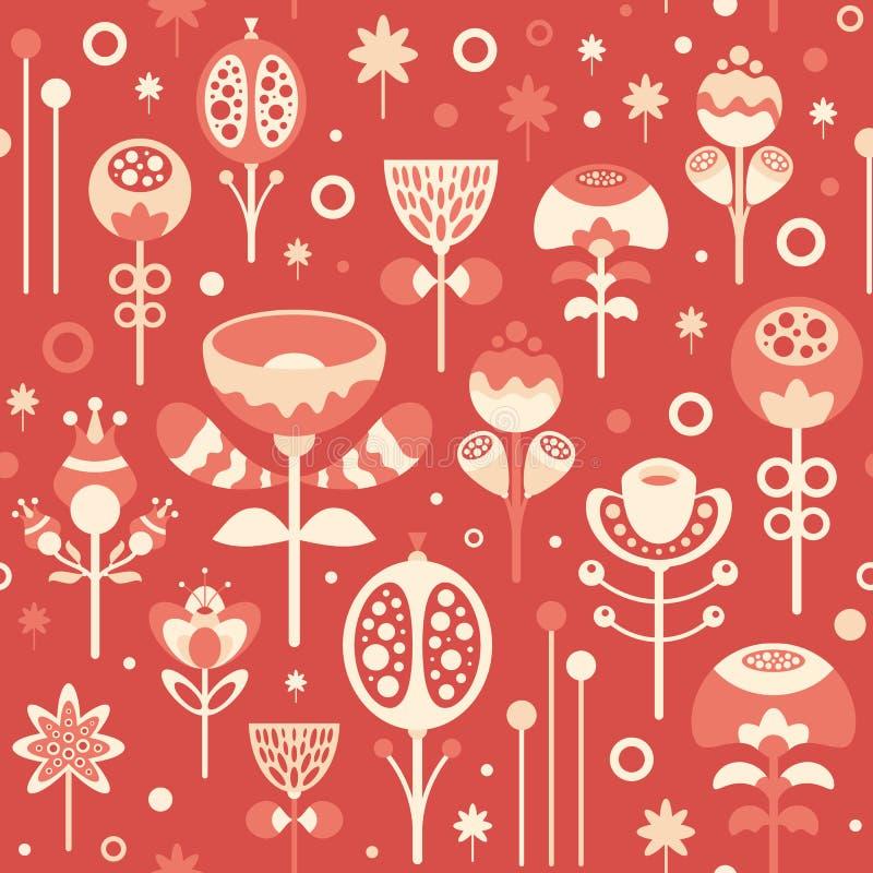 Άνευ ραφής σχέδιο με τα λουλούδια Χριστουγέννων στο κόκκινο υπόβαθρο διανυσματική απεικόνιση