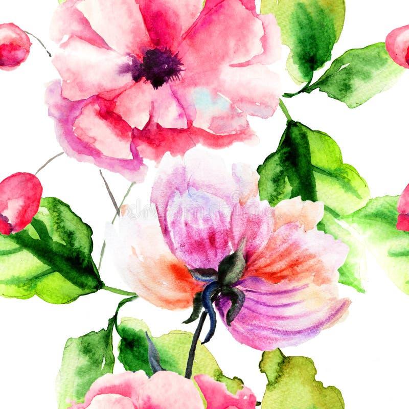 Άνευ ραφής σχέδιο με τα λουλούδια Peony και παπαρουνών απεικόνιση αποθεμάτων